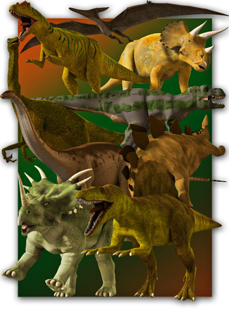 triceratops: Set of various dinosaure. Stock Photo