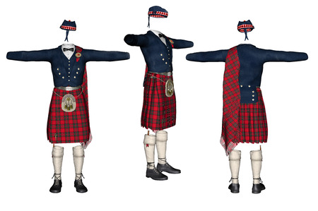Scottish kilt isolated on white background.