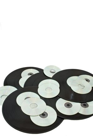 cds: Vinyls and cds dipicting time Stock Photo