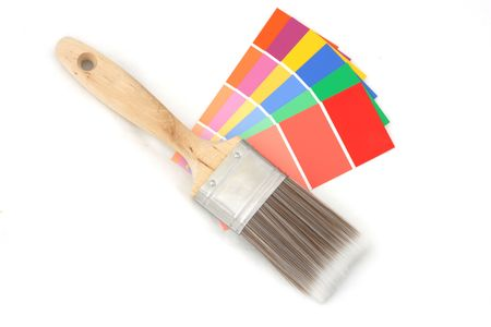 uncoated: vertical picture of color guide with brush on it on white