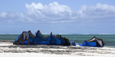 kiting: A scenic picture of kiting on an exotic Island