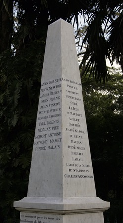 contributed: white-marbled obelisk, where the names of those who have greatly contributed to the prosperity of the island