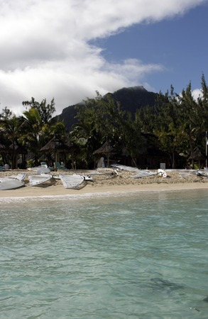 morne: Mauritius,Le Morne,Indian Resort watersports centre Stock Photo