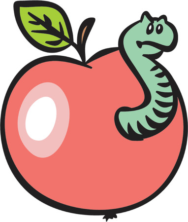 nocivo: Red Apple con un Worm