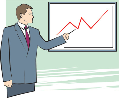 A Vector Illustration of a Businessman Pointing on a Graph Vector
