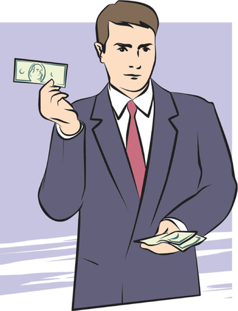 moneymaker: A Vector Illustration of a Man with Money in His Hands