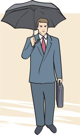 moneymaker: A Vector Illustratiom of a Businessman under Umbrella Illustration