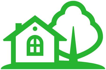 haus garten: Land-Haus-Vektor-Abbildung