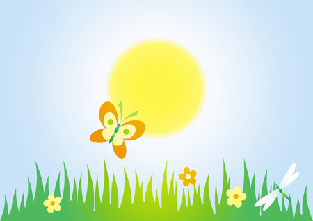 Green meadow – vector illustration Vector