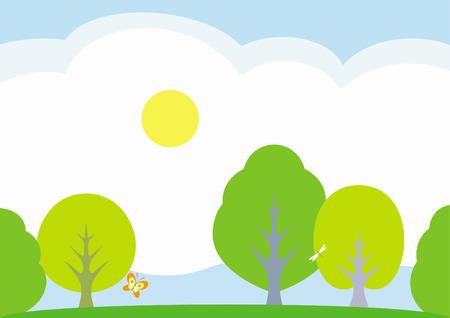 Summer landscape � vector illustration Stock Vector - 4960693