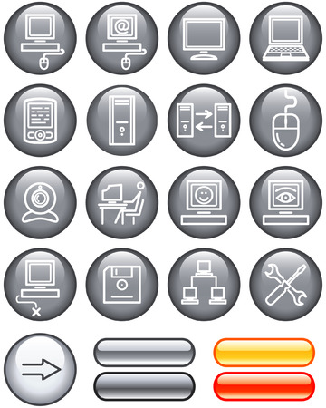 Web Icons Set – Hardware (Vector) Illustration
