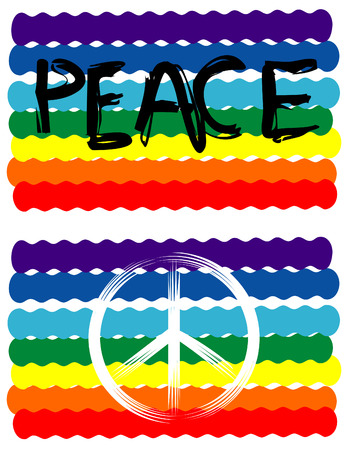 protest signs: Peace Flag, Peace Sign