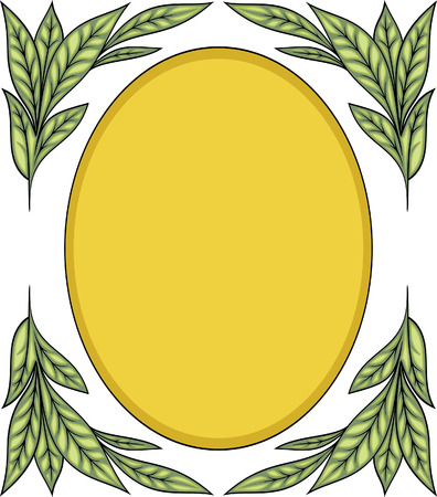Oval frame with laurel branches Vector