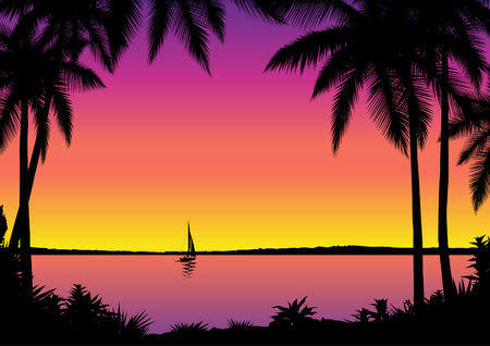 palmtree: Tropical seascape with sailboat