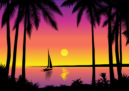 Tropical seascape – vector illustration Stock Vector - 4960818