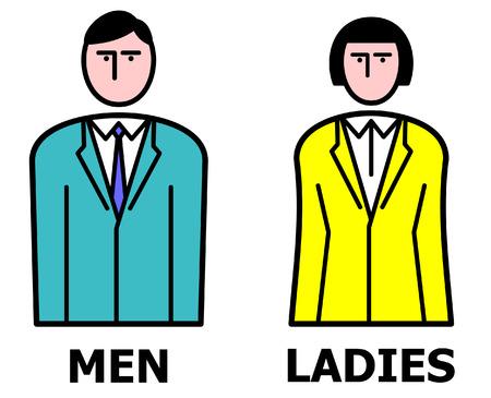 washroom: Hombre y mujer. Ilustraciones Vectoriales Vectores