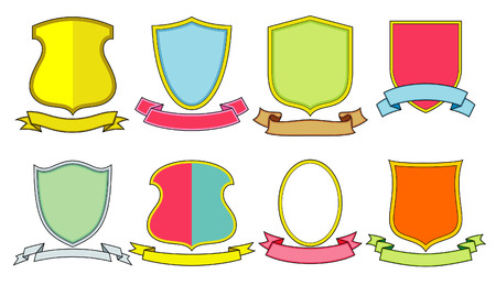 Set of vector emblems, crests, shields and scrolls Vector