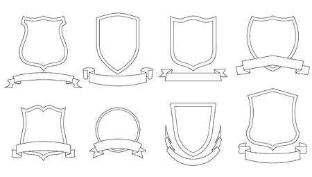crests: Set di vettore emblemi, stemmi, scudi e pergamene