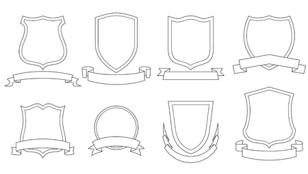 Set of vector emblems, crests, shields and scrolls Stock Vector - 4961597