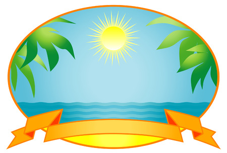 island clipart: Tropical background. Vector Illustration