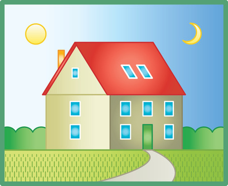 family in front of house: Country house (Vector)
