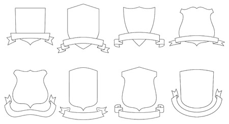 protecting: Set of vector emblems, crests, shields and scrolls Illustration