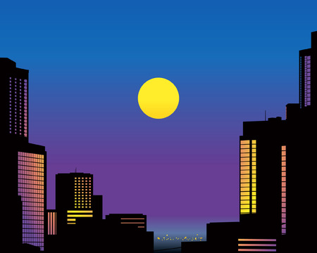 Big City Skyline at Night. Vector Illustration Vector