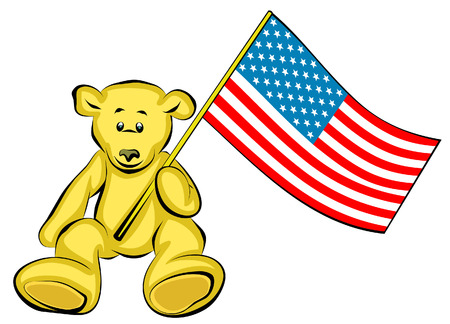plaything: Teddy Bear with USA Flag - Vector Illustration