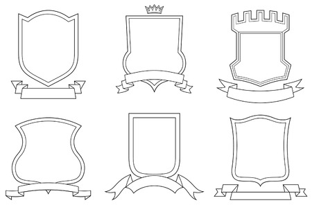 Set of vector emblems, crests, shields and scrolls Stock Vector - 4961564