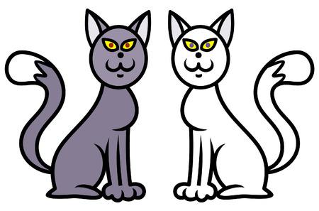 meow: Black Cat, White Cat Vector illustration Illustration