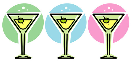 martini glass: Martini Glasses – Vector illustration
