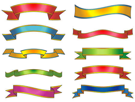 vector decoration: Set of vector ribbons and scrolls