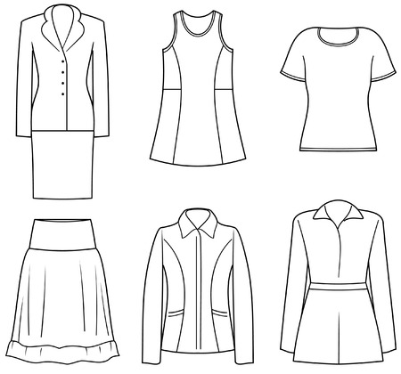 womens clothing: Womens clothes Illustration