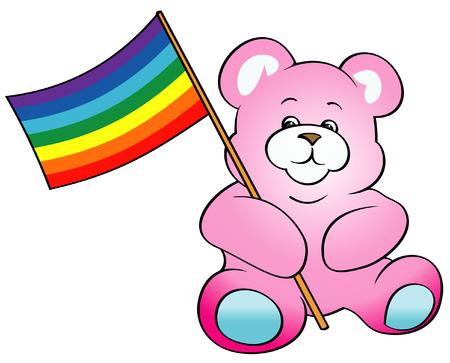 Teddy Bear with Rainbow Flag Vector