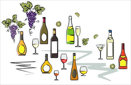 alcoholismo: Botellas de vino de ilustraci�n vectorial