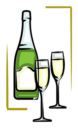 Bottle of Champagne vector illustration Champaign Vector