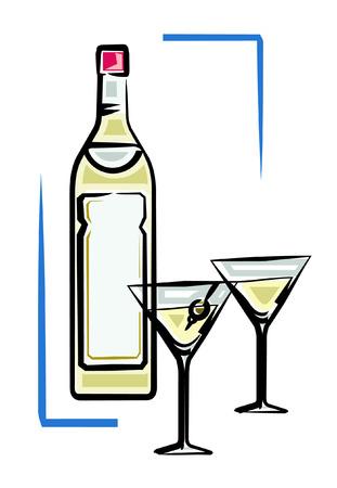 bocal: Bottle of martini vector illustration