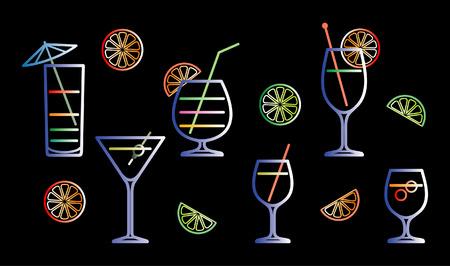 bocal: Neon cocktail illustrazione vettoriale Vettoriali