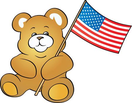 Patriotic Teddy Bear (Vector) Vector