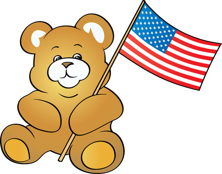 Patriotic Teddy Bear (Vector) Vector