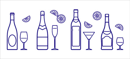 Bottles and glasses (Vector) Vector