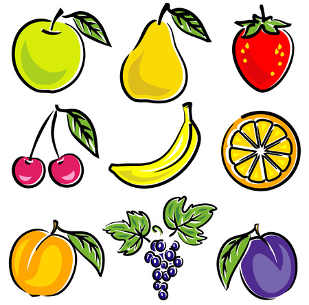 cartoon fruit: Fruits Vector Illustration