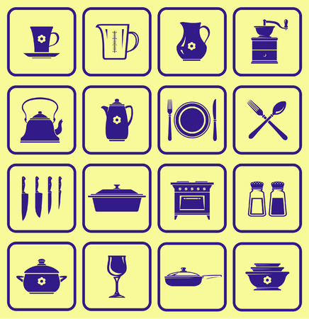 eating utensil: Kitchenware Icon Set (Vector) Illustration