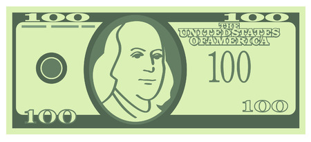 hundred dollar bill: One hundred U.S. dollars (Vector)