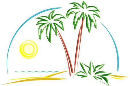 palmtrees: Hermoso paisaje (vectores)