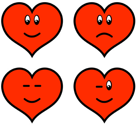 heart drawing: Funny icons - Valentines (Vector)