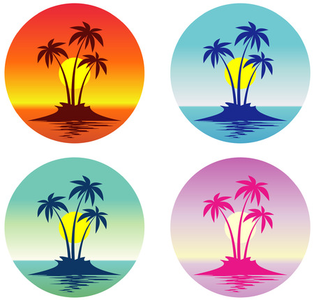 palmtree: Tropical scene (Vector) Illustration