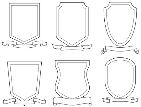 protecting: Set of vector emblems, shields and scrolls Illustration