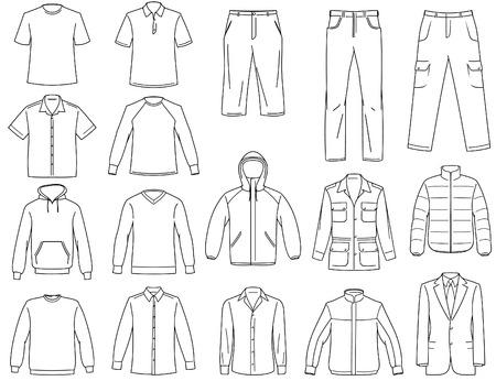 Men's clothes illustration - B&W Vector