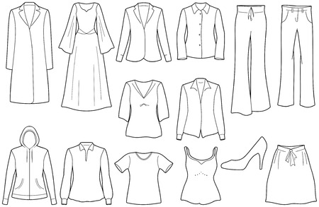 skirt suit: Womens clothes Illustration